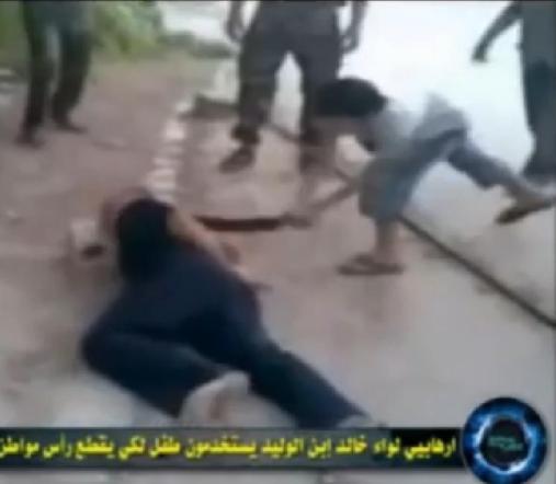 Syrian terrorists child chop