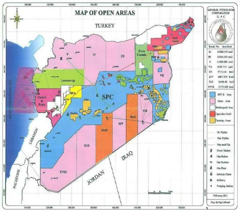 Syrian gas and oil exploration map
