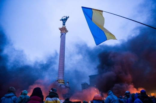 Smoke rising on Independence Square in Kiev