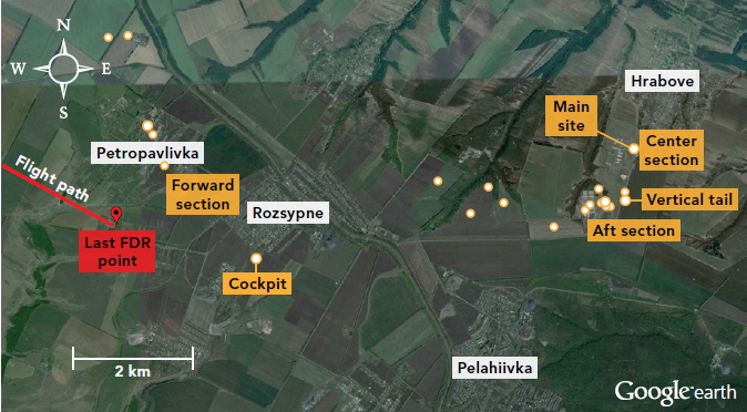 mh 17 wreckage map