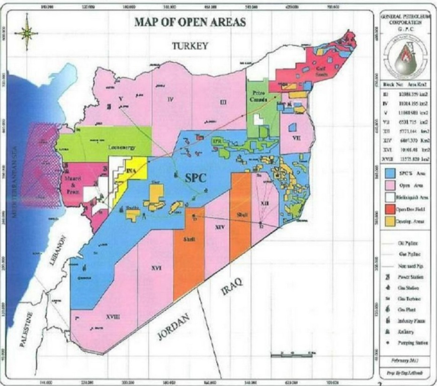 SYRIAN GAS AND OIL MAP