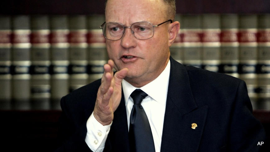 Lawrence Wilkerson, a critic of Bush administration detainee policies and a former chief of staff to former Secretary of State Colin Powell, gestures duirng an interview with the  Associated Press in Washington, Monday, Nov. 28, 2005.  (AP Photo/Susan Walsh)