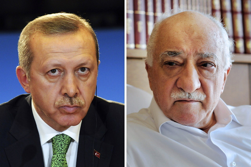 "A combination of a file picture and a handout file picture made on March 28, 2014 shows Turkey's Prime Minister Recep Tayyip Erdogan (L) giving a press conference in Brussels on January 21, 2014, and a handout picture released by Zaman Daily shows exiled Turkish Muslim preacher Fethullah Gulen (R) at his residence on September 24, 2013 in Saylorsburg, Pennsylvania. Erdogan and Gulen were once close allies who transformed a political landscape that had for decades been the domain of secularists and coup-happy generals. Today Erdogan's declared nemesis is the moustachioed 73-year-old imam Fethullah Gulen, a Muslim cleric he accuses of running a parallel ""deep state"" from faraway rural Pennsylvania. Embroiled in political turmoil and out on the campaign trail ahead of Turkey's March 30, 2014 local elections, Erdogan has declared war on a shadowy enemy and vowed to ""liquidate"" his foes. AFP PHOTO / THIERRY CHARLIER / ZAMAN DAILY / SELAHATTIN SEVI  = RESTRICTED TO EDITORIAL USE - MANDATORY CREDIT ""AFP PHOTO/ZAMAN DAILY/SELAHATTIN SEVI"" - NO MARKETING NO ADVERTISING CAMPAIGNS - DISTRIBUTED AS A SERVICE ="