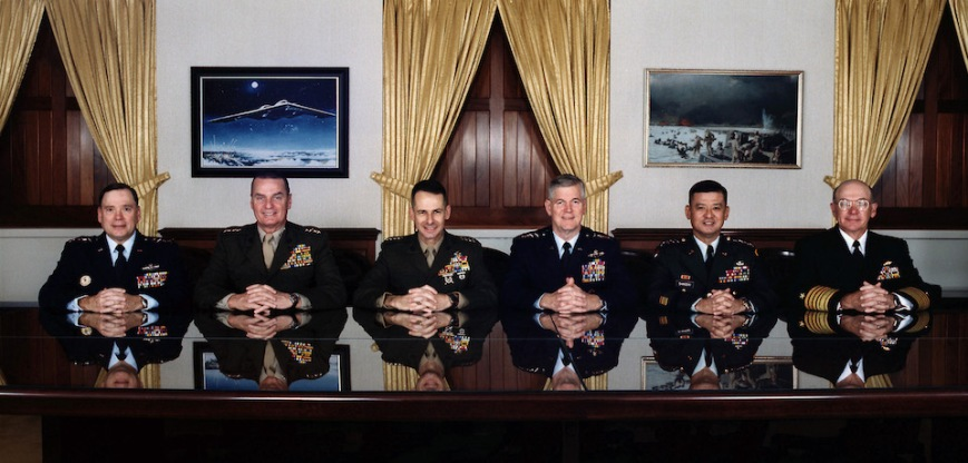 011214-D-2842B-002 The Joint Chiefs of Staff photographed in the Joint Chiefs of Staff Gold Room, more commonly known as The Tank, in the Pentagon on December 14, 2001.  From left to right are:  U.S. Air Force Chief of Staff Gen. John P. Jumper, U.S. Marine Corps Commandant Gen. James L. Jones Jr., Vice Chairman of the Joint Chiefs of Staff Gen. Peter Pace, U.S. Marine Corps, Chairman of the Joint Chiefs of Staff Gen. Richard B. Myers, U.S. Air Force, U.S. Army Chief of Staff Gen. Eric K. Shinseki, U.S. Navy Chief of Naval Operations Adm. Vern E. Clark.  DoD photo by Mamie Burke.  (Released)